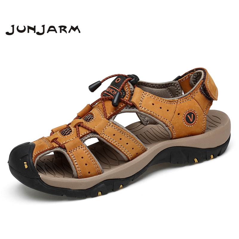 JUNJARM 2018 Brand Mens Sandals Genuine Leather Men Beach Shoes Breathable Summer Casual Quality Outdoor Walking Sandals For Men