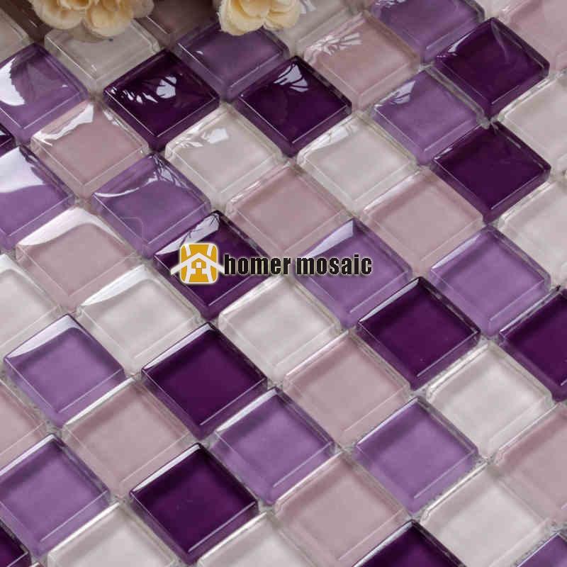 gentle purple violet color crystal glass mosaic kitchen backsplash bathroom shower tiles fireplace mosaic HMB1228