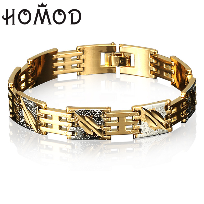 HOMOD Mens 12MM Weight Gold Color Pure Copper  Bracelet&Bangle link Wristband Engrave AA0188