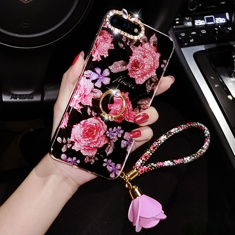 Case For iPhone Xr Xs Max Cover Luxury Rose Flower 3D Stand Glitter Rhinestone Girly Strap X 6 6S 7 8 Plus