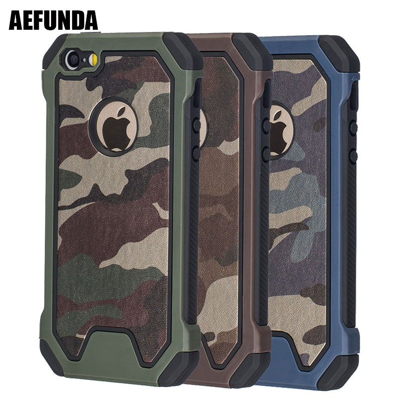 Army Military Camouflage Phone Case For IPhone X XS Max XR 7 8 Plus 6 6S 5 S 5S SE Coque Dual Layer TPU Armor Shockproof Cover