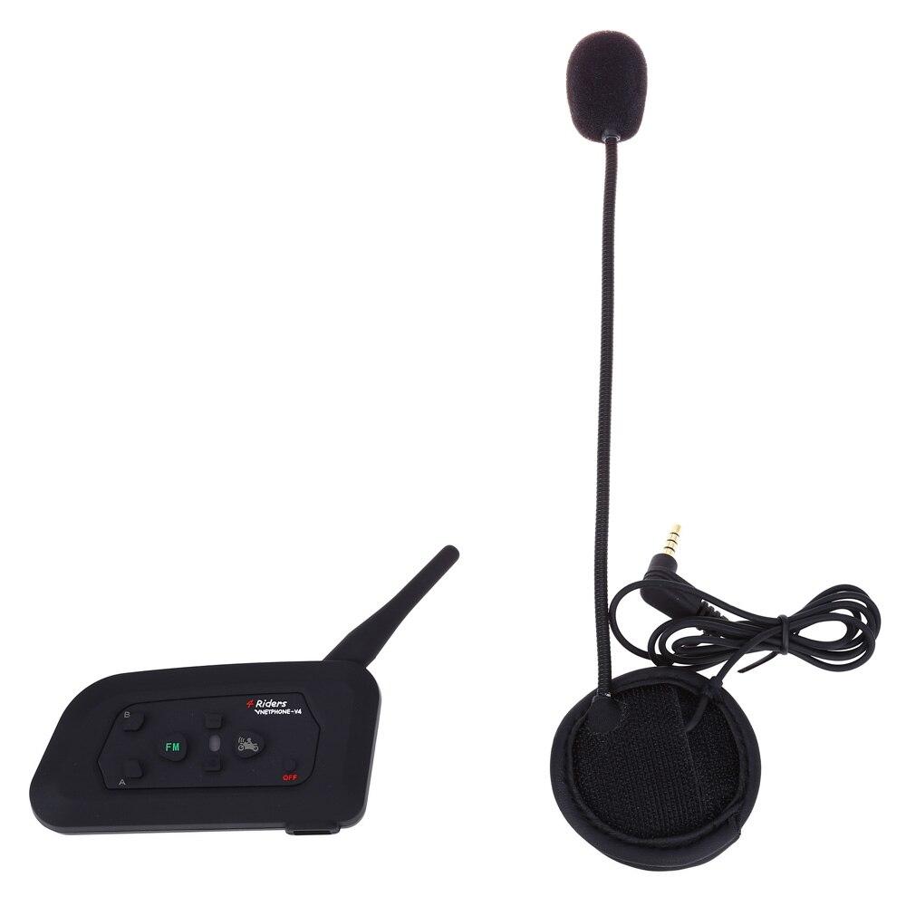 Vnetphone V4-1200 Full-duplex Bluetooth Moto Casque Interphone Interphone pour 4 Coureurs max 1200 m parler distance