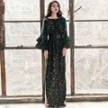Alta calidad más nueva 2017 diseñador maxi dress mujeres largo floral suelta de manga larga casual dress