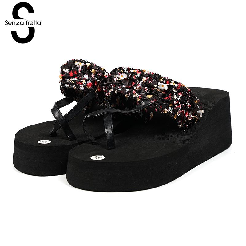 Senza Fretta Women Shoes Bohemia Slippers Flowers Flip Flops Women Poe Platform Wedge Flip Flops Outdoor Beach Flip Flops Shoes senza fretta women shoes bohemia slippers flowers flip flops women poe platform wedge flip flops outdoor beach flip flops shoes