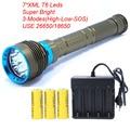 7 * XML T6 Leistungsstarke LED Tauchen taschenlampe linternas Unterwasser Wasserdichte Lampe verwenden Wiederaufladbare 26650 Batterie-in LED-Taschenlampen aus Licht & Beleuchtung bei