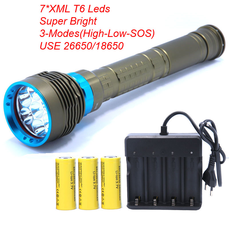 7*XML T6 Powerful LED Diving flashlight Torch linternas Underwater Waterproof Lamp use Rechargeable 26650 Battery фонарик tomtop xml t6 2200lm 5 linternas & hx318a 2200lm flashlight hw 30