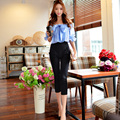 Original 2016 Brand Autumn Overalls Patchwork Calf-Length Slim Fashion Elegant Off-the-Shoulder Women Jumpsuit Wholesale