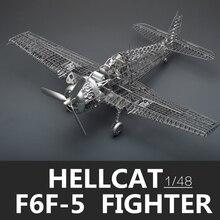 MMZ modèle Jasmine 3D puzzle en métal, chasseur de chats de lenfer, assemblage de squelette PE complet, modèle davion, jouet puzzle découpé au Laser, 1/48 F6F 5