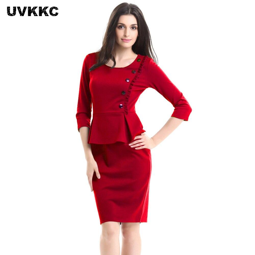 UVKKC Women Office Dress Ruffles O Neck Elegant Plu Size Tunic Work Office Business Bodycon Stretch Fitted Sheath Pencil Dress