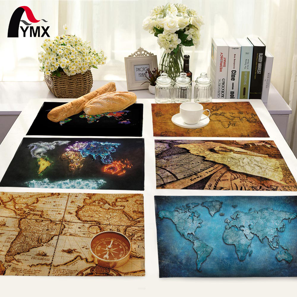 Retro World Map Cotton Table Napkins Polyester Dinner Cloth Table Napkins For Wedding Supplies Party Decoration Table Mat