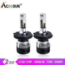 AcooSun H4 H7 Led Car Headlight 10000LM LED H1 H3 H11 12V HB4 HB3 9005 9006 9012 led Bulbs 6500K 50W Auto Light Flip Chips Lamp(China)