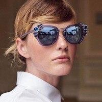 HBK Cat Eye Sunglasses Women Decorative Rhinestone Brand Designer Copper Frame HD Clear Lens Oversize Oculos