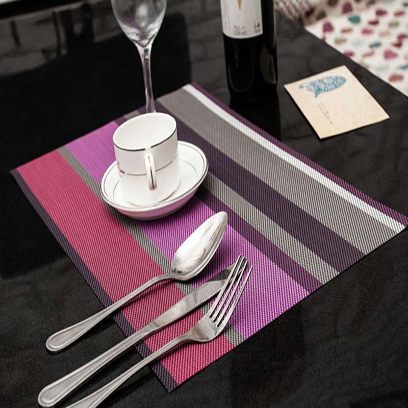 4pcs Purple Stripe Adiabatic Placemat Table Mat Protector Dining Decoration Doily Desk Insulation Coffee