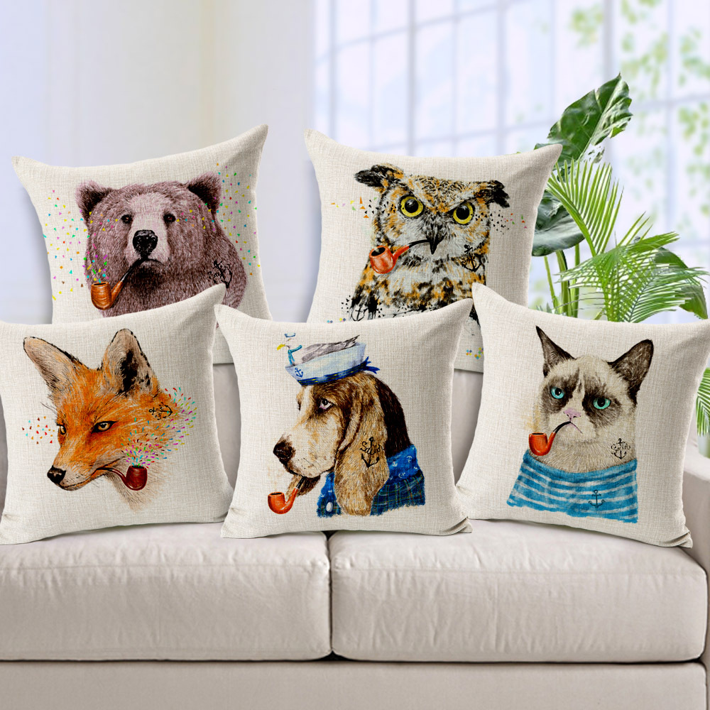 12 styles Bear Fox Lion Dog Cat Cushion Covers Pipe Animal Sailor Pillow Case Linen Cotton Material Bedroom Decoration