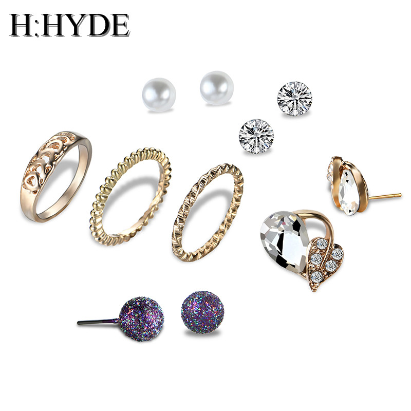 H:HYDE 6-7 Pcs/Lot White Crystal & Simulated Pearl Stud Earrings and Rings Set Women Small Ear Studs Vintage Jewelry