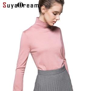 Image 1 - 여성 양모 풀오버 100% 울 스웨터 여성용 터틀넥 플랫 니트 2019 가을 겨울 bottoming 스웨터