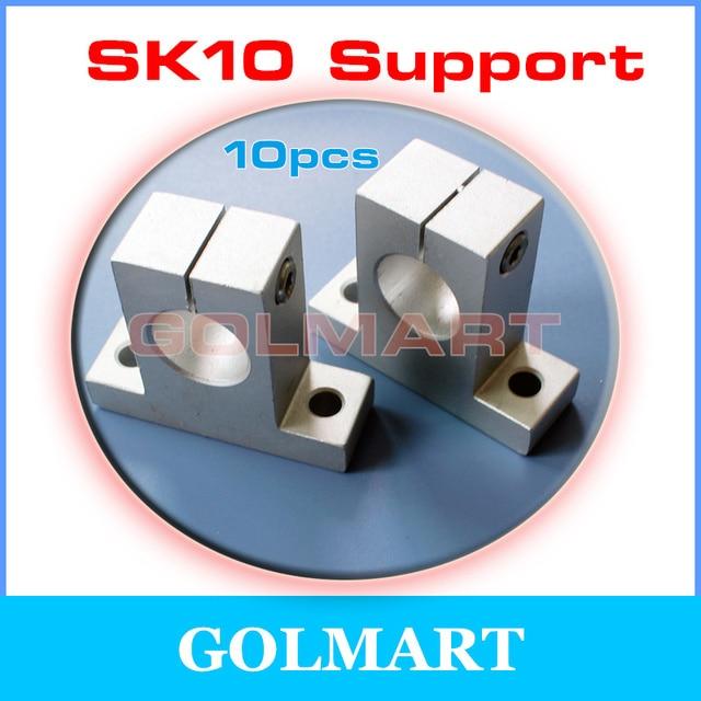 10pcs SK10 SH10A 10mm Aluminum Linear Motion Bearing Slide rail shaft guide Support Socket Stand SHF10 horizontal