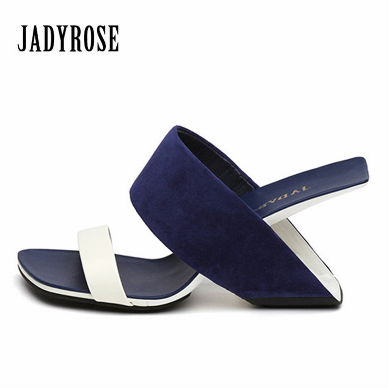 Jady Rose Fashion New Blue Women Casual Summer Sandals Leather Strange High Heels Shoes Woman Pumps Gladiator Peep Toe Slippers