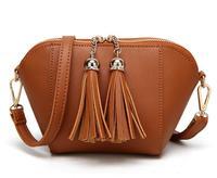 Fashion Women Shell Shoulder Bag Solid PU Leather Shopping Party Tassel Handbag Famous Brand Luxury Crossbody