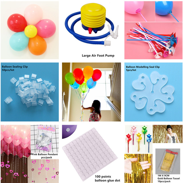 Accesorios de globo cinta de globo bomba de aire arco carpeta palo fijo Balon adultos niños cumpleaños fiesta boda decoraciones Baloon