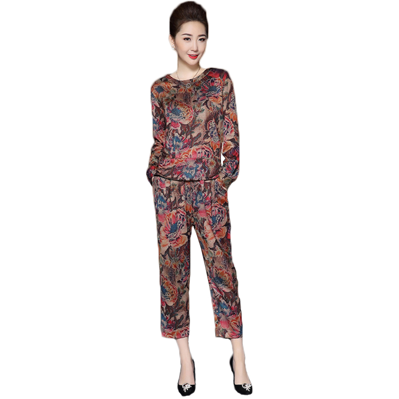 276e27bb977 Spring 2018 fashion Chiffon printing plus size two piece sets women casual  sporting suit women long sleeve tops+harem pants suit