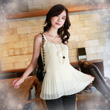 Free Shipping Ladies 2013 spring and summer patchwork crumple chiffon Shirt lace crochet Camis