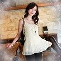 Primavera e verão patchwork deformação chiffon lace crochet Camis