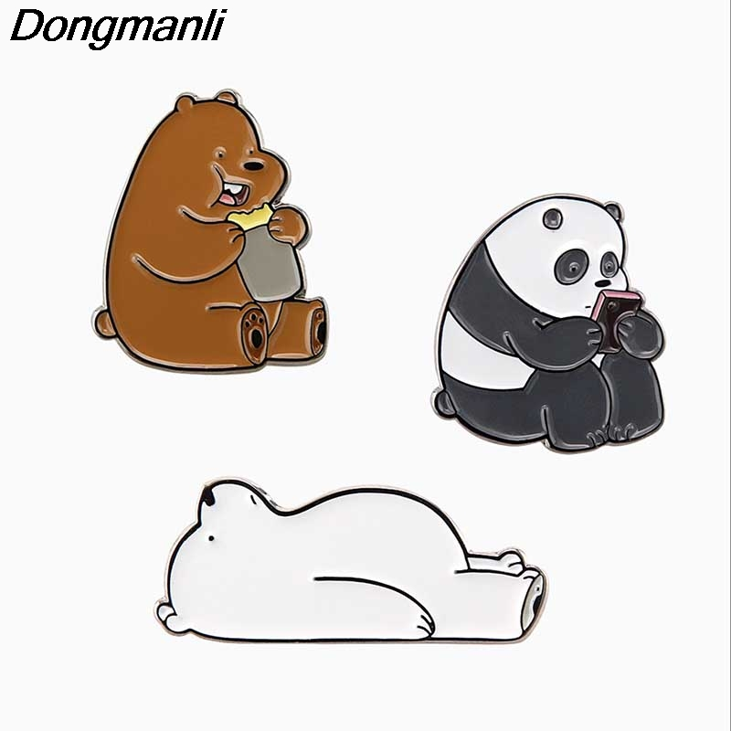 ba662780b01a P2191 Dongmanli cartoon jewelry We Bare Bears Cute Grizzly Panda Ice Bear  metal enamel Pins   Brooches badge-in Brooches from Jewelry   Accessories  on ...
