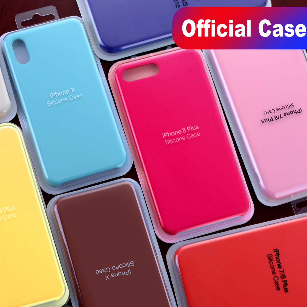 Have LOGO Original Silicone Case For iPhone 7 8 Plus Official Silicon Cover For iPhone X XS Max Phone Case For iPhone 6 6S Capa(China)