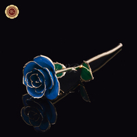 WR Birthday Gift 24k Gold Long Stem Rose for Anniversary Decor Gold Flower for Christmas Home Decor with Gift Box