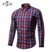 KaLeBo 새로운 남성 긴 소매 옷깃 격자 무늬 셔츠 20% 면 슬림 아름다움 코드 남성 패션