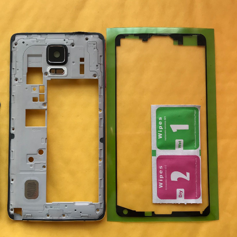 For Samsung Galaxy Note 4 N910 N910F N910C N910G N910A N910H Original Phone Housing Middle Frame Mid Chassis Cover + Adhesive