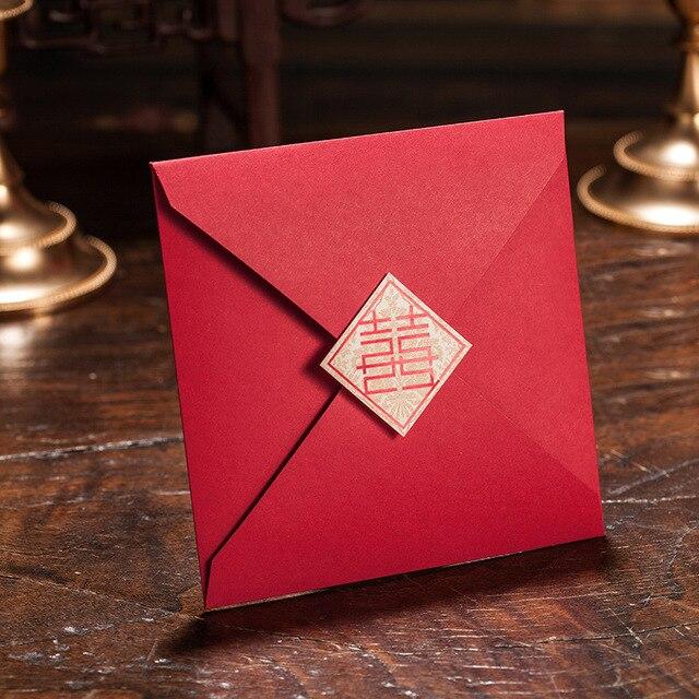 Elegant Ehe Hochzeit Karte Kundenspezifische Druckbare Rote Hochzeits Einladung  China Umschlag Engagement Einladungskarte