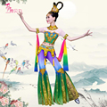 Dunhuang flying danza clásica China moon leyenda traje mujer lentejuelas Tailandia folk dance dance party clothes