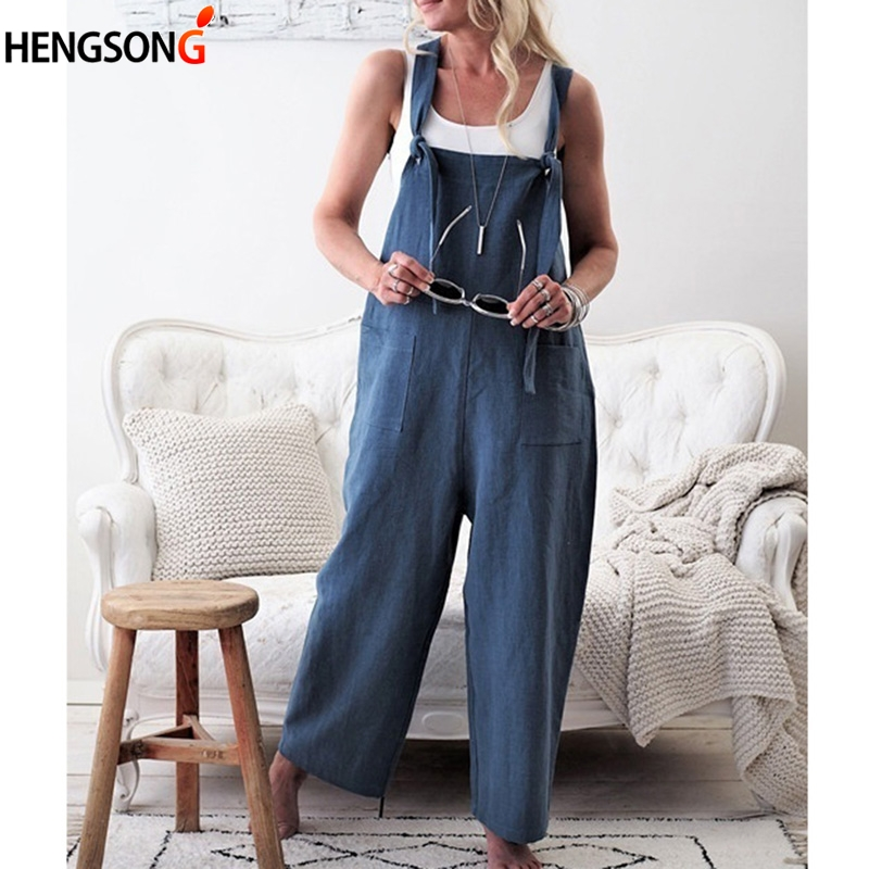 Women Overalls Wide Leg Pants Vocation Dungarees Solid Casual Jumpsuits With Pockets Long Trousers Loose Lace Up Playsuits