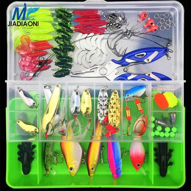 6ba6127eb placeholder JIADIAONI 100 Peças Conjunto Isca de Pesca Spinner Bait Metal  Pesca Com Mosca Carpa Wobblers Minnow