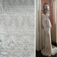 1 Yard Ivory White Guipure Lace Fabric Venise Lace Fabric Haute Couture 2017 New Arrival Bridal