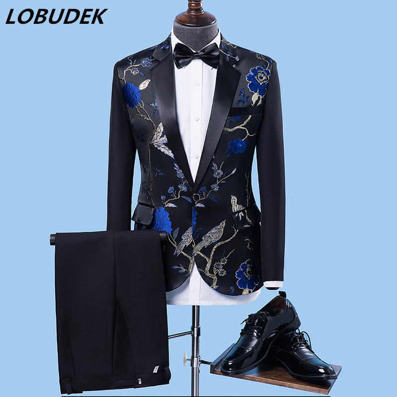 Men's Suits Stage-Costumes Embroidery Performance Green-Flowers Clthing Blue Singer Studio