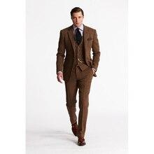 2018 Latest Coat Pant Designs Brown Tweed Men Suit Slim Fit mens suits Tuxedo Custom Groom Blazer Prom Suits Terno Masculino