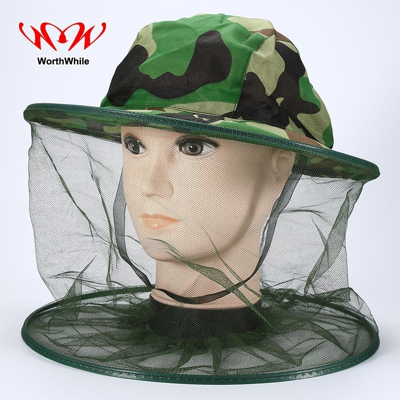 WorthWhile Camouflage Fishing Cap Insects Mosquito Bee Net Resistance Mesh Hat Cover Outdoor Camping Hiking Survival Kits