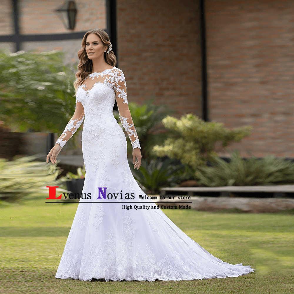 Vestido דה Casamento סקסי Boho 2019 Brautkleid שמלת כלה בציר תחרה ארוך שרוול חתונה שמלות Robe Mariage