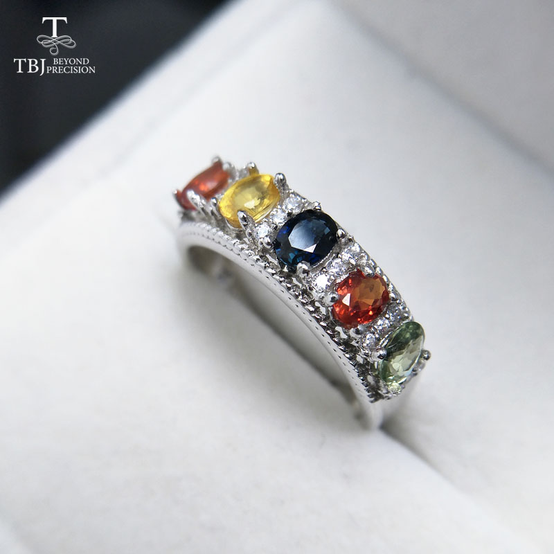 TBJ,Colorful Gemstone Ring with Natural 1.1ct Fancy color sapphire gemstone Ring in 925 sterling silver fine jewelry with box tbj delicate small ring with natural good color blue tanzanite gemstone lady ring in 925 sterling silver fine jewelry for women