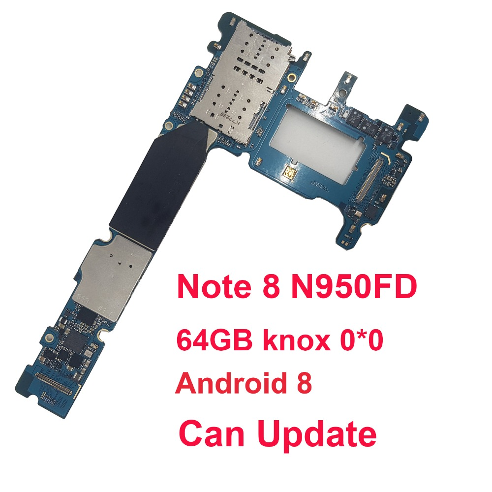 BINYEAE Original unlocked For Samsung Galaxy Note 8 N950FD Motherboard for Galaxy Note8 N950FD Android 8 Mainboard Dual Card