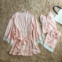 Wedding Bride Bridesmaid Robes Pink Sleepwear Women Lace Sexy Intimate Lingerie Sleep Set 3PCS Loose Kimono Sleepwear M XXL