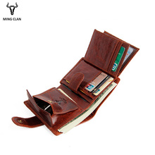 купить Mingclan Genuine Leather Men Purse Wallet Short Coin Purse Small Vintage Wallet Crazy Horse Card Holder Pocket Purse Men Wallets по цене 2261.36 рублей
