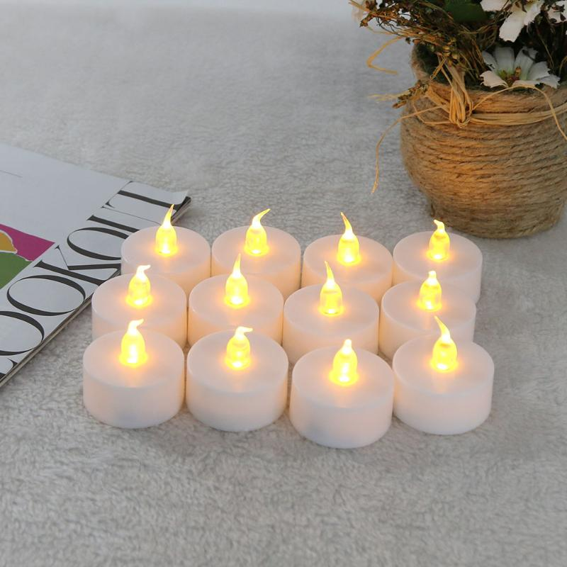 12PCS LED Tea Light Candles Light Lamp Realistic Battery-Powered Flameless Candles Candela Del for Party Battery Included