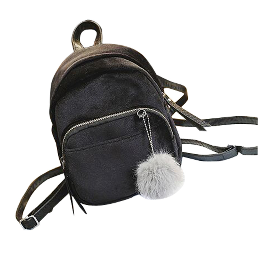 Mini Fur Ball Backpack  Casual Style Bag Fashion Shoulder Bag Solid Women Girls Waterproof Travel School Bags#ZSMini Fur Ball Backpack  Casual Style Bag Fashion Shoulder Bag Solid Women Girls Waterproof Travel School Bags#ZS
