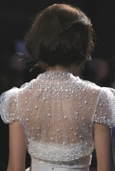 B174 Sheer Short Capped Sleeve Pearls Beads Elegant Shawl