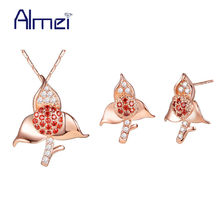 Almei 49% off Rose Gold Color Jewelry Sets CZ Zircon Jewellery Silver Necklace Set Red Stones Flower Wedding Bijoux Femme T595(China)