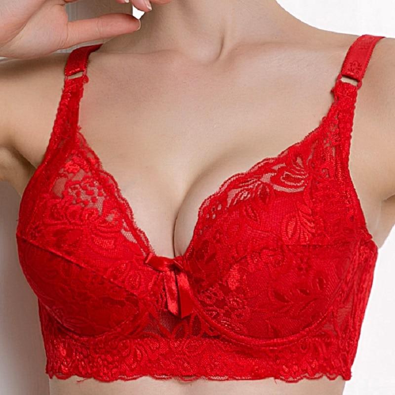 Plus Size Foreign Trade Ultra-thin Lace Sexy Thin Cotton Cup Plump Big Push Up Bra  Bralette Encaje Sexy Bra Modis Lingerie